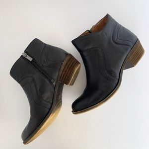 LUCKY BRAND Leather Brolley Ankle Booties in Black